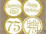 75 Birthday Decorations 75th Birthday Cupcake toppers Gold 75th Birthday toppers