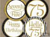 75 Birthday Party Decorations 75th Birthday Cupcake toppers Black Gold 75 Years Bday