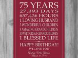 75th Birthday Gifts for Her 75th Birthday Gift Sign Print Personalized Art Mom Dad