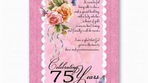 75th Birthday Greeting Cards 75th Birthday Greeting Card Roses and butterfly