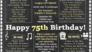 75th Birthday Ideas for Him 75th Birthday for Her 1944 Facts Sign Back In 1944