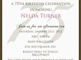 75th Birthday Party Invitation Wording 75th Birthday Invitation Wording Samples Templates