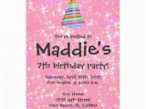 7th Birthday Invitation for Girl Girls Pink Sparkle 7th Birthday Party Invite Zazzle