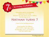 7th Birthday Invitation Message 7th Birthday Invitation Letter Sample Templates Resume
