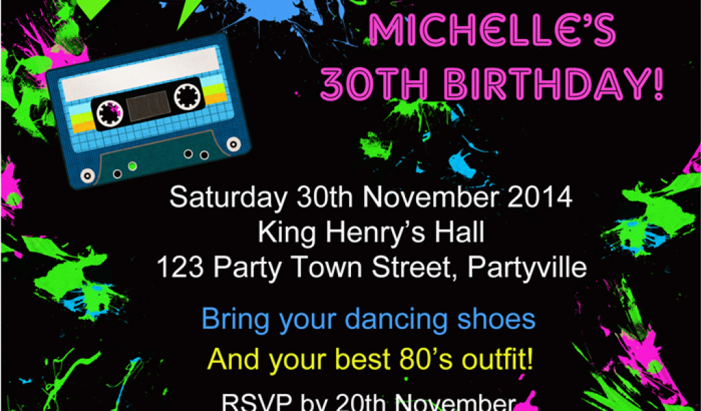 80s Birthday Party Invitation Wording Back To The Eighties 80s