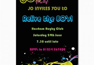 80s Theme Birthday Invitations Party Invitation Invites
