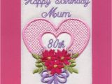 80th Birthday Card Messages Embroidered Personalised Mum 80th Birthday Greeting Cards