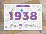 80th Birthday Cards for Mom 1938 Mum Happy 80th Birthday Memories Year Of Birth Facts