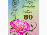 80th Birthday Cards for Mom Elegant Rose 80th Birthday Card for Mom Zazzle
