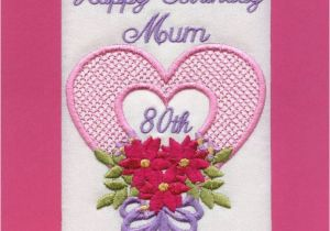 80th Birthday Cards for Mum Embroidered Personalised Mum 80th Birthday Greeting Cards