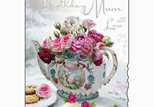 80th Birthday Cards for Mum Happy 80th Birthday Mum Greeting Card Floral Teapot