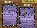 80th Birthday Cards Free Printable Items Similar to Printable Diy 80th Birthday Invitation