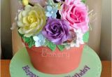 80th Birthday Flowers Plants Plant Pot Cake by Karen Bryant Cakesdecor
