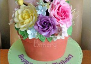 80th Birthday Flowers Plants Plant Pot Cake by Karen Bryant Cakesdecor