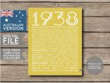 80th Birthday Gifts for Him Australia Australian 80th Birthday Poster Personalised Poster 1938