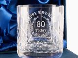 80th Birthday Gifts for Him Personalised Crystal Whisky Glass Happy 80th Birthday