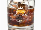 80th Birthday Gifts for Husband 1939 80th Birthday Whiskey Glass for Men and Women