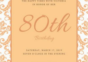 80th Birthday Invitation Wording Samples Party Invitations Template Business