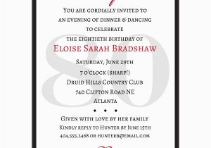 80th Birthday Invitation Wording Samples Classic 80th Birthday Red Surprise Invitations Paperstyle