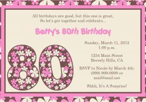80th Birthday Invitation Wording Templates 15 Sample Invitations Ideas