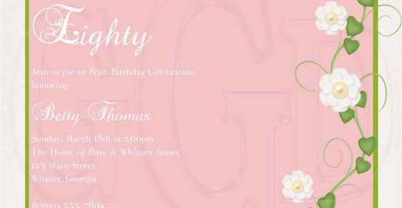 80th Birthday Invitation Wording Templates 15 Sample 80th Birthday Invitations Templates Ideas