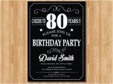 80th Birthday Invitations for A Man 80th Birthday Invitation 70th 90th 40th 50th 60th 100th Any
