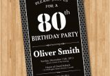 80th Birthday Invitations for A Man 80th Birthday Invitation for Men Black and White Birthday