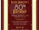 80th Birthday Invitations for A Man Man 39 S 80th Birthday Invitation Maroon Gold Art Deco