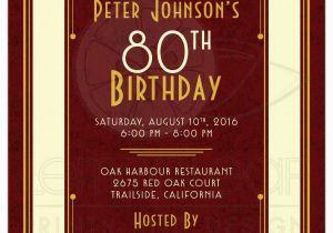 80th Birthday Invitations For A Man 39 S Invitation Maroon Gold Art Deco