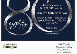 80th Birthday Party Invitations with Photos Navy and Silver 80th Birthday Invitation Modern Number