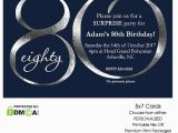 80th Birthday Party Photo Invitations Navy and Silver 80th Birthday Invitation Modern Number