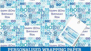 80th Birthday Present Male Australia Personalised Happy 80th Birthday Wrapping Paper Male