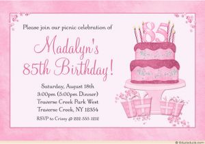 85th Birthday Invitation Template Templates Invitations