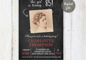 85th Birthday Invitation Wording 85th Birthday Invitations Chalkboard Vintage Photo Collage