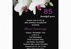 85th Birthday Invitation Wording 85th Birthday Party Invitation orchids 5 Quot X 7