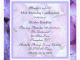 85th Birthday Invitation Wording 85th Birthday Party Invitation Purple Hydrangeas Zazzle