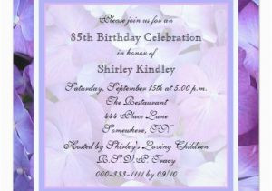 85th Birthday Invitation Wording 85th Birthday Party Invitation Purple Hydrangeas Zazzle