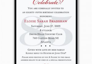 85th Birthday Invitation Wording Classic 85th Birthday Celebrate Party Invitations Paperstyle