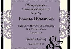 85th Birthday Invitation Wording Decorative Square Border Eggplant 85th Birthday