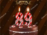 89th Birthday Card 89 Year Happy Birthday Card with Cake and Candles 89th