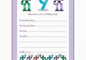 9 Year Old Birthday Invitations 10 Childrens Party Years Boy