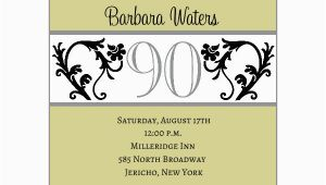 90 Birthday Invitation Templates Elegant Vine Chartreuse 90th Birthday Invitations Paperstyle