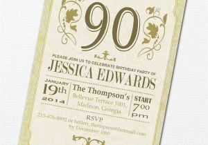 90 Birthday Invitation Wording 90th Party Invitations Templates