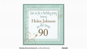 90 Year Old Birthday Invitations Birthday Party Invitation for 90 Year Old Teal Zazzle