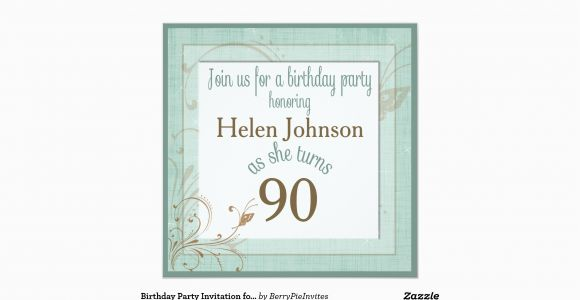 90 Year Old Birthday Invitations Party Invitation For Teal Zazzle
