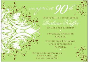 90th Birthday Invitation Wording andromeda Green Surprise 90th Birthday Invitations