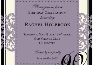 90th Birthday Invitation Wording Decorative Square Border Eggplant 90th Birthday