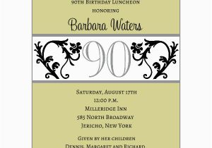 90th Birthday Invitation Wording Elegant Vine Chartreuse 90th Birthday Invitations Paperstyle
