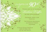 90th Birthday Invitation Wording Samples andromeda Green Surprise 90th Birthday Invitations