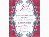 90th Birthday Invitation Wording Samples Raspberry Maze 90th Birthday Invitations Paperstyle